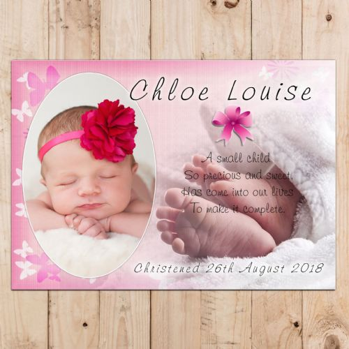 Personalised Girls Christening Baptism Celebration PHOTO Poster Banner N21